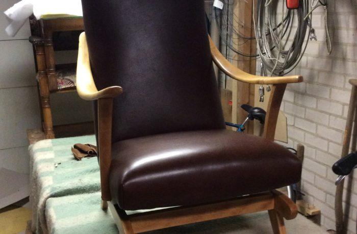 Leren vintage schommelstoel